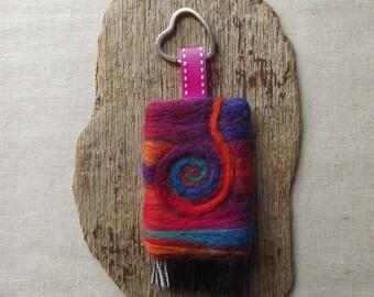 SALE: Spiral Keyring - Handmade, Needle Felted, OOAK