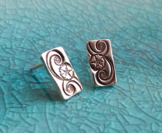 Sterling Silver Sand Dollar Stud Earrings, Silver Bar Earrings, Simple Stud Earrings, Minimalist earrings, Bar Studs, Small Bar Earrings