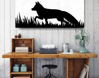 Fox Silhouette, Black and White Print, Silhouette Wall Art, Canvas Wall Decor, Black & White Canvas Art, Printed on Canvas