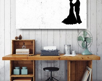 Dancing Couple Silhouette, Black and White Print, Silhouette Wall Art, Canvas Wall Decor, Black & White Canvas Art, Printed on Canvas