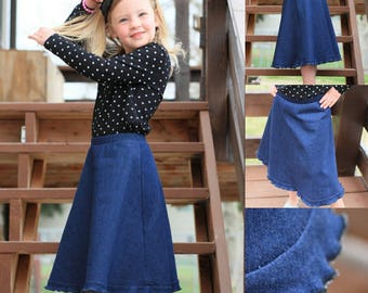 Jean Skirt - Modest Clothes - Stretch Knit Jean - Elastic Waist - Play Clothes - Girl Skirt - Ruffle Edge - Frills - Modest Skirt - Long