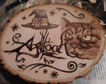 """Wood Burned - Pyrography """"Borris the Wizard Cat of Agalloch"""" Fanart Piece on Basswood Round Plaque"""