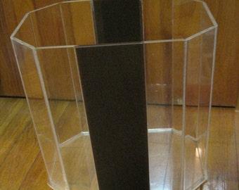 "Lucite Waste Basket, Trash Can, Brown Stripe, 10"" Length x 6.5"" Wide x 10"" Height, Vintage, Mid Century, Modern"