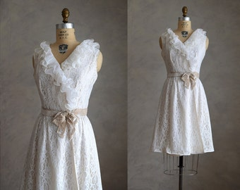 vintage 1960s lace and chiffon ruffle dress | 60s white lace party dress | 60s vintage lace wedding shower or reception dress