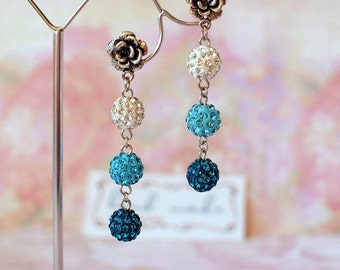 Aqua and blue shamballa beads earrings White crystal beads earrings Flower stud earrings Long crystal beads earrings