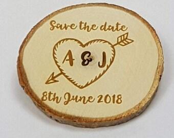Initials Arrow Through Heart Log Slice Save the Date ~ Magnet ~ 9-11cm diameter ~ Alternative Coaster ~ Rustic Wedding ~ Country Wedding