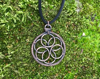 Geometric seed of life oxidised copper pendant necklace