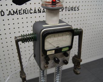 """Steampunk Upcycled Americana Found Object Robot Sculpture / """"Piper"""""""