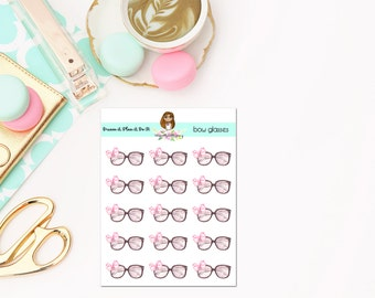 Cute glasses planner stickers