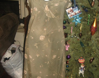 Olive Green Feminine Flower Print Forever 21 Knee Length Dress