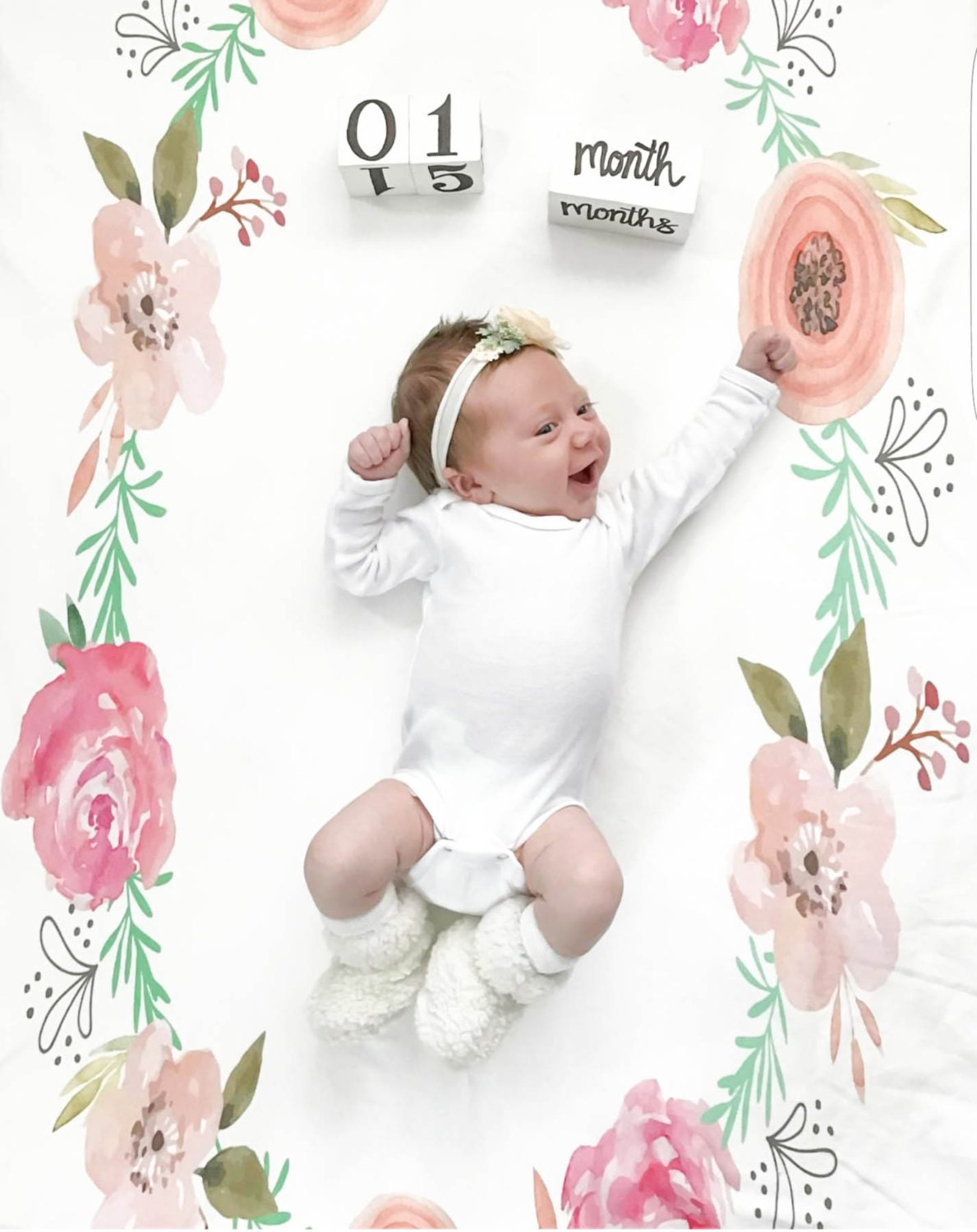 Toddler coloring milestones - Wreath Swaddle Milestone Blanket Growth Chart Newborn To 1 Year Photo Baby Photography Floral Wreath For Photos Blocks And Sticker