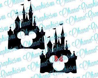 Castle with Mickey and Minnie Cut out SVG