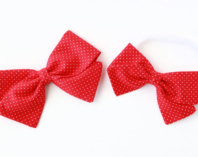 Baby Girl, Toddler, Girls Fabric Bow, Newborn, Hand tied bow- Red pin dot