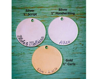 SALE • 1 inch Disc Add-On • Handstamped Disc • Sterling Silver Disc • 14K Gold Disc • Personalized Tag • Customized Plate • Large Round Disc