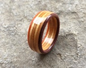 6 Ply Recycled Skateboard Ring | Custom-fit Upcycled Wood Ring - Recycled Skateboards