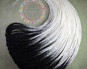 Ombre Soft and Smooth Double Ended Synthetic Dreadlock Extensions. Black White Dreads. Gothic Boho Dread.