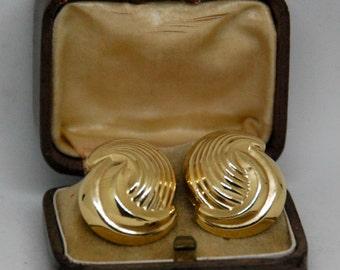 14k Yellow Gold Large Earrings - Circa 1950