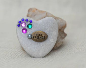 Best Friends  - Heart Shaped Keepsake - Pebble -  Gift - Love - Trinket - Lucky Charm - Gift - Love - Colours