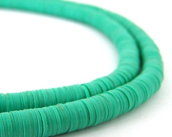1000 Vinyl 6mm Beads Phono Vulcanite Heishi Disc - Turquoise - African Trade