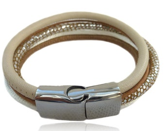 Leather bracelet beige, cream, silver multi-row with magnetic closure for women