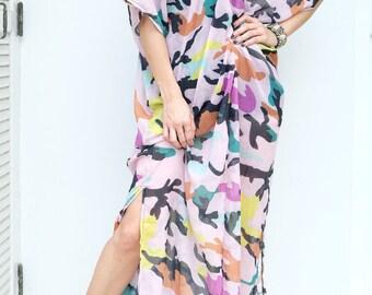 Pink Military Chiffon Beach Dress Swimsuit Bikini Cover Up | Casual Maxi Short Sleeve Dress | Spring/Summer Dress