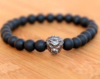 Matte Black Onyx Bracelet with Gunmetal Lion Head Charm - Birthday Gift for Boyfriend, Anniversary Gift For Husband, Gift for Brother