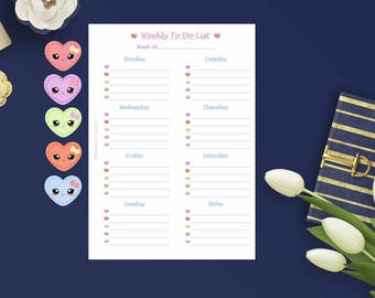 Weekly To-Do (Hearts) | A5 | Printed | List | Planner | Insert | 12 Pieces | Kawaii