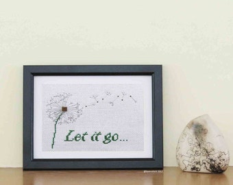 Let it Go -  dandelions in the wind illustrate this quote in a modern cross stitch pattern PDF, suitable for a beginner