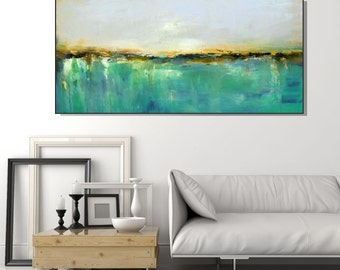 large wall art for living room. Large Wall Art Print Abstract Giclee Canvas  Aqua Green Modern Living artwork Etsy