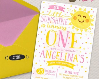 You are my Sunshine Birthday invitation DIY Summer printable invite Sunshine first Birthday Invitation watercolors