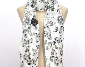 10% OFF Butterfly Flora Pashmina Scarf,Spring Scarf, Autumm Scarf, Fall Scarf, Oversize Cowl Scarf, Shawl, Women Scarves, White Scarf