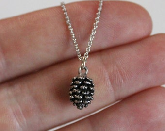 Pinecone Pine Cone Acorn Necklace - silver, tiny, dainty | gift for her / nature lover / outdoor enthusiast / mountains / adventure