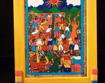 Yucatan, Mexico village festival -Gwen-Art decorated framed print