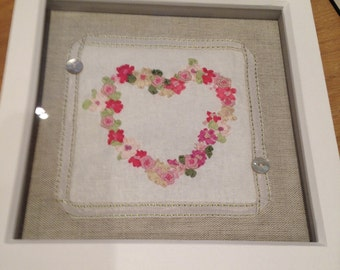 Box framed original hand made embroidered piece of art with silk ribbon embroidery heart, bows and mother of pearl buttons/ valentine