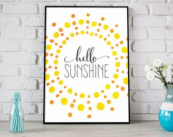 Hello Sunshine Watercolor Print, Summer Printable Art, Digital Print, Instant Download, Modern Home Decor, Happy Summer Print - (D052)