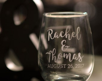 Etched Wine Glass | You & Me - Weddings, Anniversaries, Save the Date, Engagements, Weddings, Wedding Favors - Free Shipping