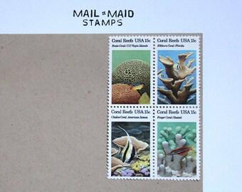 Coral Reefs || Set of 12 unused vintage postage stamps