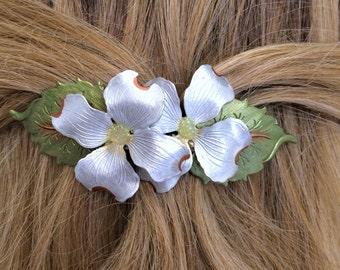 Dogwood Barrette, White Flower Barrette, Women's French Barrette,Large Spring Flower Hair clip