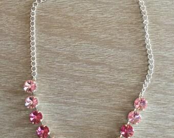 12MM Light Rose and Rose Swarovski Necklace