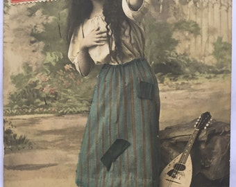 Mignon wants to die * Poor lady in rags  * Musical string instrument * Antique photograph on French postcard shipped 1913