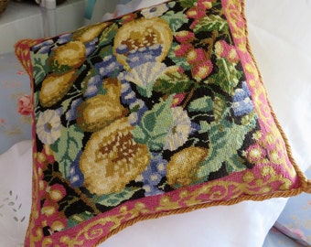 Vintage Needlepoint  Tapestry  Cushion all Hand Worked