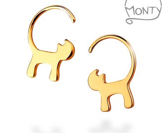 Cats - 14K Gold Plated Sterling Silver Earrings