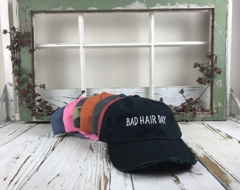 BAD HAIR DAY Hat Distressed  Baseball Cap Low Profile Dad Hats Baseball Hat Embroidery