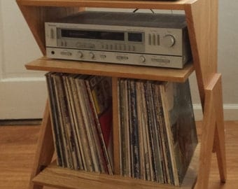 Solid Ash Wood Record Player Stand   Vinyl / LP Storage Cabinet