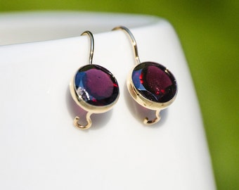14K Gold Garnet Earrings - 14k Gold Earrings - natural Garnet Earrings - Garnet Drop Earrings - Garnet Gold Earrings - Garnet jewelry