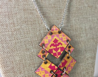 Yellow and Pink Aztec Pattern Wood Burned Necklace