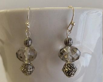 Gray beaded earrings