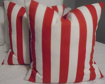 VALETINES DAY.Pillow Cover.cabana stripe Red.White.Stripe.holiday decor.Beach Decor.Poolside Decor.Slip Covers.Deck Decor.Patio.
