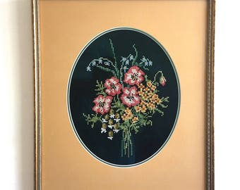 """Cross-Stitch Bouquet of Flowers in Vintage Wood Frame - 21.5"""" x 19"""""""