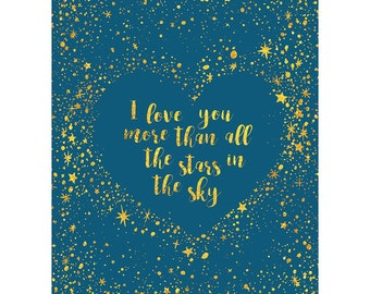 Valentines Card - Love Heart Star Sky Romance Quote Typography Blank Card CP3188